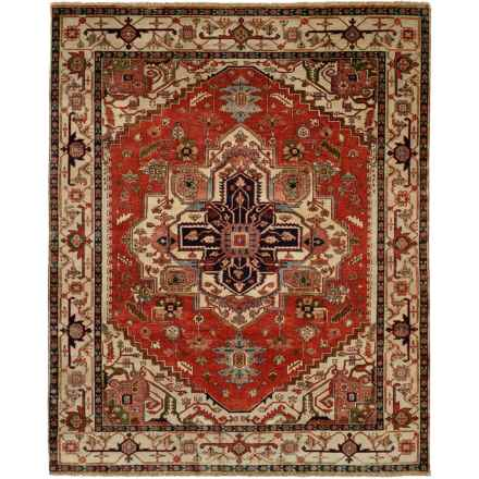 HRI Serapi Hand-Knotted Wool Pile Area Rug - 6x9', Heritage Collection in Red/Ivory - Overstock