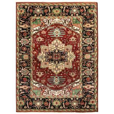 HRI Serapi Hand-Knotted Wool Pile Area Rug - 9x12', Heritage Collection in Red/Ivory - Overstock