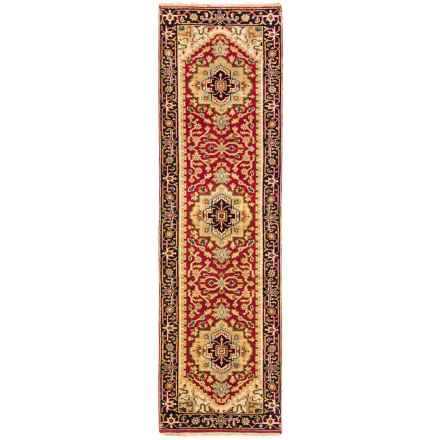 "HRI Serapi Hand-Knotted Wool Pile Floor Runner - 2'6"" x10' in Red/Ivory - Overstock"