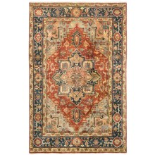 HRI Serapi Hand-Knotted Wool Pile Rug - 6x9', Heritage Collection in Rust/Navy - Overstock