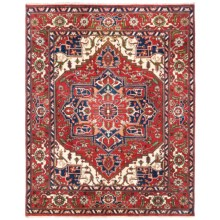HRI Serapi Hand-Knotted Wool Pile Rug - 8x10', Heritage Collection in Rust - Overstock