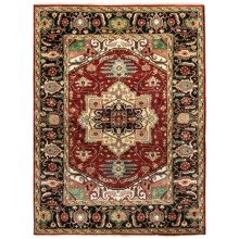 HRI Serapi Hand-Knotted Wool Pile Rug - 9x12', Heritage Collection in Sh-14C Red Ivory - Overstock