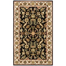 HRI Traditional Persian Design Area Rug - Hand-Tufted Wool, 5x8' in Black/Beige - Closeouts