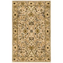 HRI Traditional Persian Design Area Rug - Hand-Tufted Wool, 5x8' in Ivory/Gold - Closeouts