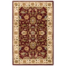 HRI Traditional Persian Design Area Rug - Hand-Tufted Wool, 5x8' in Red/Ivory - Closeouts