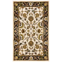 HRI Traditional Persian Design Area Rug - Hand-Tufted Wool, 8x10' in Ivory/Black - Closeouts
