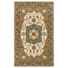 HRI Traditional Persian Design Area Rug - Hand-Tufted Wool, 8x10' in Ivory/Light Blue - Closeouts