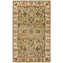 HRI Traditional Persian Design Area Rug - Hand-Tufted Wool, 8x10' in Sage/Ivory - Closeouts