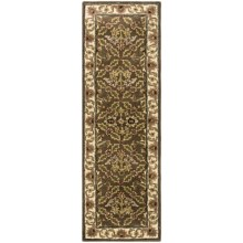 "HRI Traditional Persian Design Floor Runner - Hand-Tufted Wool, 2'6""x8' in Brown / Beige - Closeouts"