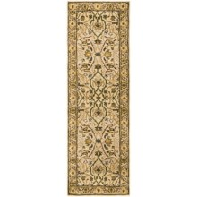 """HRI Traditional Persian Design Floor Runner - Hand-Tufted Wool, 2'6""""x8' in Ivory/Gold - Closeouts"""