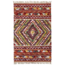 HRI Tribal Kilim Flat-Weave Accent Rug - 4x6' in Burgundy - Closeouts