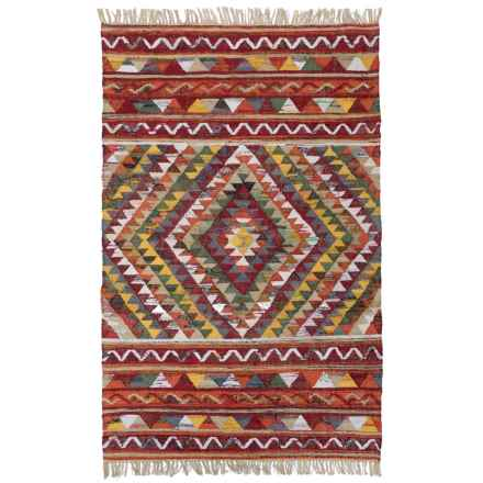 HRI Tribal Kilim Flat-Weave Area Rug - 5x8' in Burgundy - Closeouts