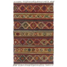 HRI Tribal Kilim Flat-Weave Area Rug - 5x8' in Persimmon - Closeouts