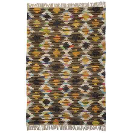 HRI Tribal Kilim Flat-Weave Area Rug - 5x8' in Yellow - Closeouts