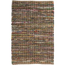 "HRI Whisper Collection Handmade Rag Area Rug - 5'x7'8"" in Beige - Overstock"