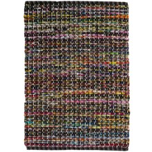 "HRI Whisper Collection Handmade Rag Area Rug - 5'x7'8"" in Black/Grey - Overstock"