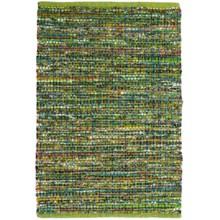 "HRI Whisper Collection Handmade Rag Area Rug - 5'x7'8"" in Green - Overstock"