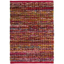 "HRI Whisper Collection Handmade Rag Area Rug - 5'x7'8"" in Red - Overstock"