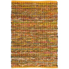 "HRI Whisper Collection Handmade Rag Area Rug - 5'x7'8"" in Yellow - Overstock"