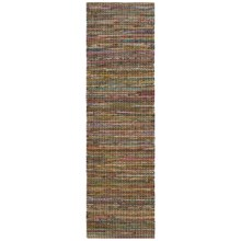 "HRI Whisper Collection Handmade Rag Floor Runner - 2'3""x8' in Beige - Overstock"