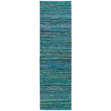 "HRI Whisper Collection Handmade Rag Floor Runner - 2'3""x8' in Blue - Overstock"