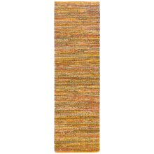 "HRI Whisper Collection Handmade Rag Floor Runner - 2'3""x8' in Yellow - Overstock"