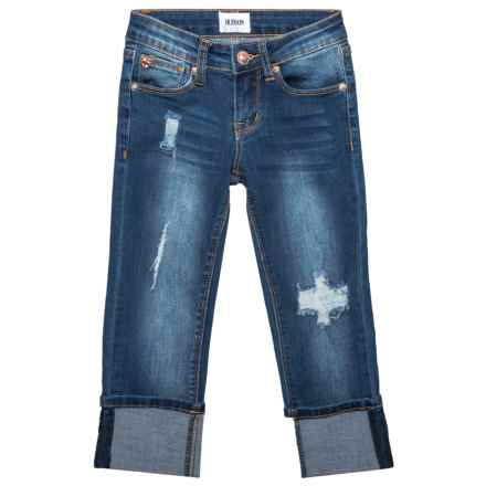 Skinny Roll Cuff Crop Jeans (For Big Girls) in Classic Blue - Closeouts