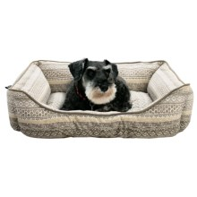 """Hudson Stripe Lounger Dog Bed - 28x22"""" in Neuttral - Closeouts"""