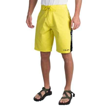 Huk Camo Boardshorts (For Men) in Blaze Yellow/Black Camo - Closeouts