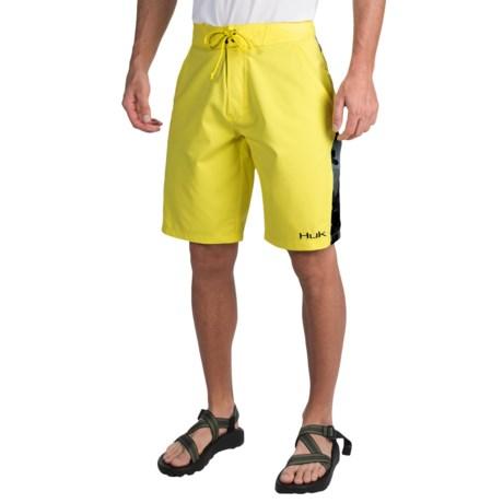Huk Camo Boardshorts (For Men) in Blaze Yellow/Black Camo