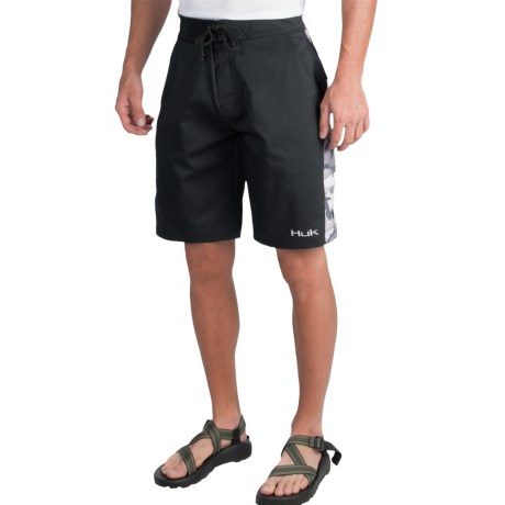 Huk fishing hook board shorts color black grey camo for Huk fishing shorts