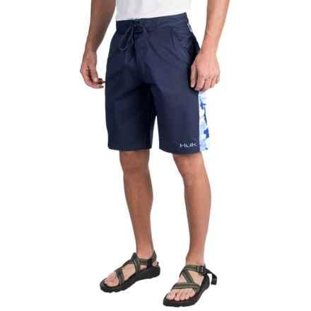 Huk Camo Boardshorts (For Men) in Navy/Carolina Blue Camo - Closeouts