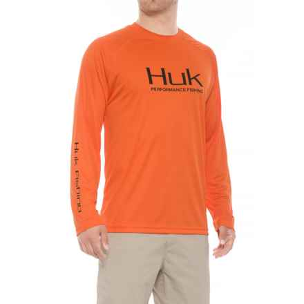 Huk High-Performance Raglan Shirt - Long Sleeve (For Men and Big Men) in Orange - Closeouts