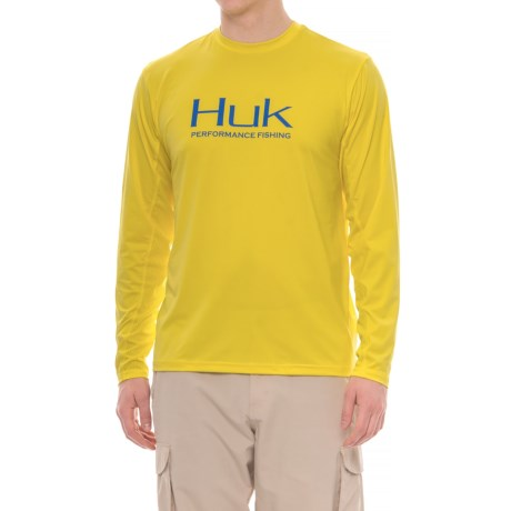 Huk Icon T-Shirt - Long Sleeve (For Men and Big Men) in Blaze Yellow