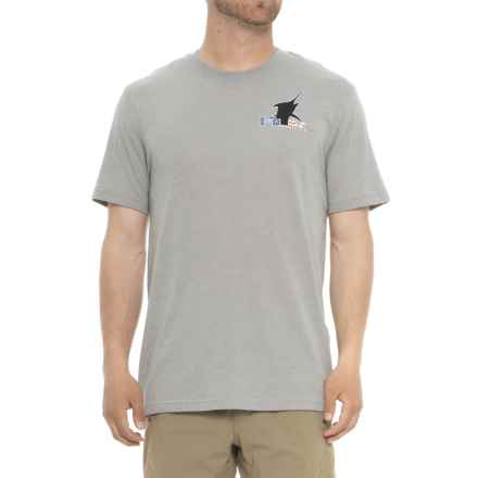 Huk K. C. Scott American Marlin T-Shirt - Short Sleeve (For Men and Big Men) in True Grey Heather - Closeouts