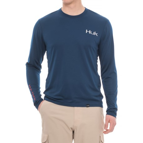 Huk K.C. Scott American Bass T-Shirt - Long Sleeve (For Men and Big Men) in Navy