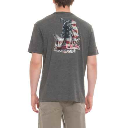 Huk KC Scott American Bass T-Shirt - Short Sleeve (For Men and Big Men) in Dark Grey Heather - Closeouts