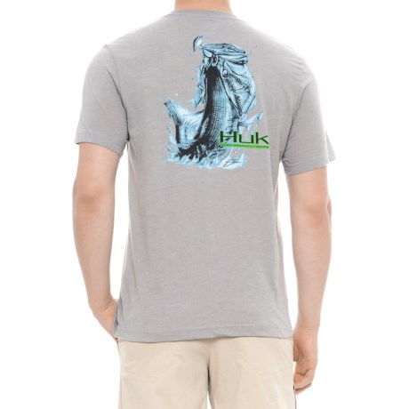 Huk KC Scott Jumping Bass T-Shirt - Short Sleeve (For Men and Big Men) in True Grey Heather