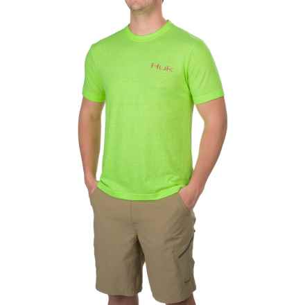 Huk KC Scott Steelhead T-Shirt - Short Sleeve (For Men and Big Men) in Heather Neon Green - Closeouts