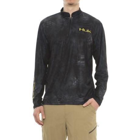Huk Kryptek Icon Shirt - Zip Neck, Long Sleeve (For Men and Big Men) in Typhon Yellow