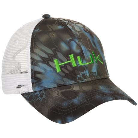 ff7b1b6df4f4f Huk s Kryptek Logo trucker hat boasts the classic mesh construction at the  sides and back for airy-light comfort  the printed
