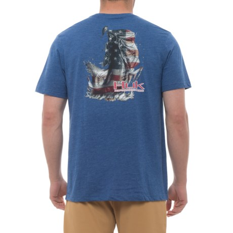 Huk KScott American Bass T-Shirt - Short Sleeve (For Men and Big Men) in Royal Heather