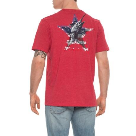 Huk KScott American Marlin T-Shirt - Short Sleeve (For Men and Big Men) in Heather Red