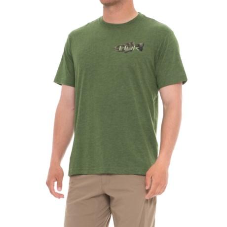 Huk KScott Bass Lilly T-Shirt - Short Sleeve (For Men and Big Men) in Heather Green