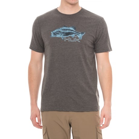 Huk KScott Bass Sketch T-Shirt - Short Sleeve (For Men and Big Men) in Dark Grey Heather