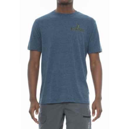 Huk KScott Challenge T-Shirt - Short Sleeve (For Men and Big Men) in Heather Navy - Closeouts