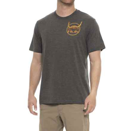 Huk KScott Let's Fight T-Shirt - Short Sleeve (For Men and Big Men) in Dark Grey Heather - Closeouts