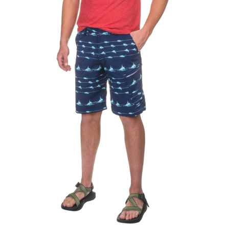 Huk KScott Lines Hybrid Lite Shorts (For Men) in Navy - Closeouts