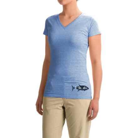 Huk KScott Tuna Back-Graphic T-Shirt - Short Sleeve (For Women) in Heather Carolina Blue - Closeouts