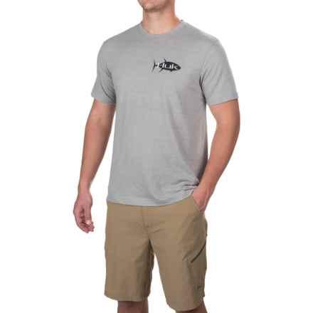 Huk KScott Tuna T-Shirt - Short Sleeve (For Men and Big Men) in True Grey Heather - Closeouts